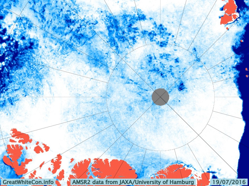 University of Hamburg AMSR2 concentration visualisation of the Central Arctic on July 19th 2016