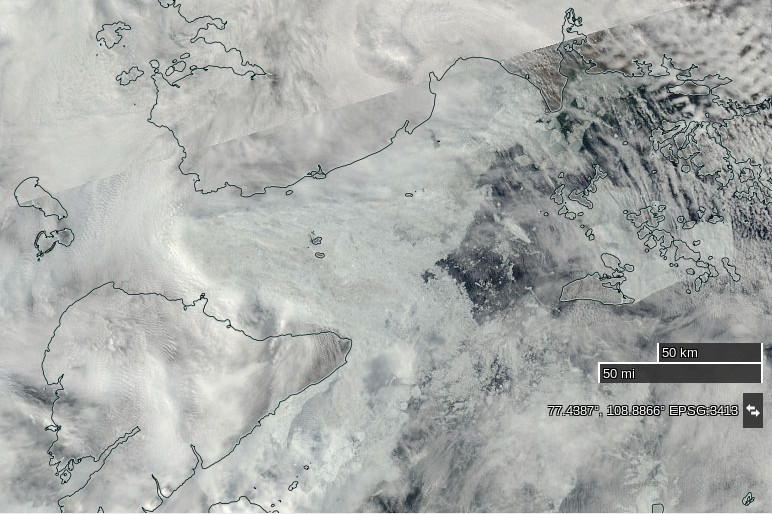 "NASA Worldview ""true-color"" image of the Vilkitsky Strait on July 23rd 2016, derived from the MODIS sensor on the Terra satellite"