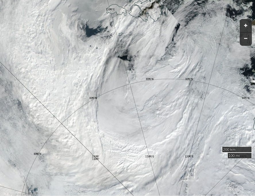 """NASA Worldview """"true-color"""" image of the 'Great Arctic Cyclone' on August 15th 2016, derived from the VIIRS sensor on the Suomi satellite"""