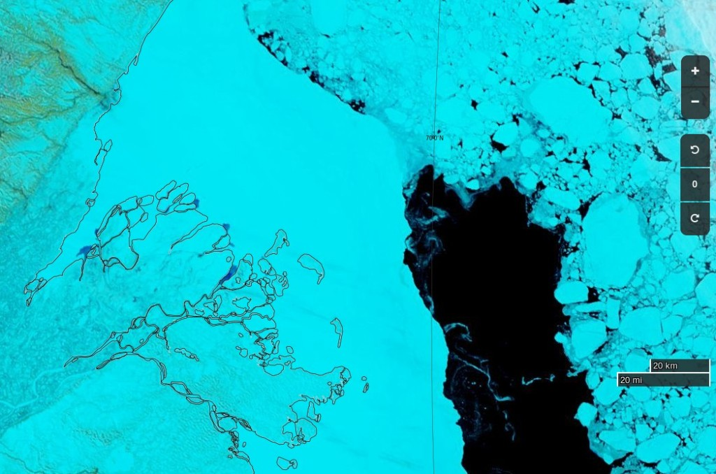 "NASA Worldview ""false-color"" image of the Beaufort Sea on May 16th 2017, derived from the MODIS sensor on the Aqua satellite"