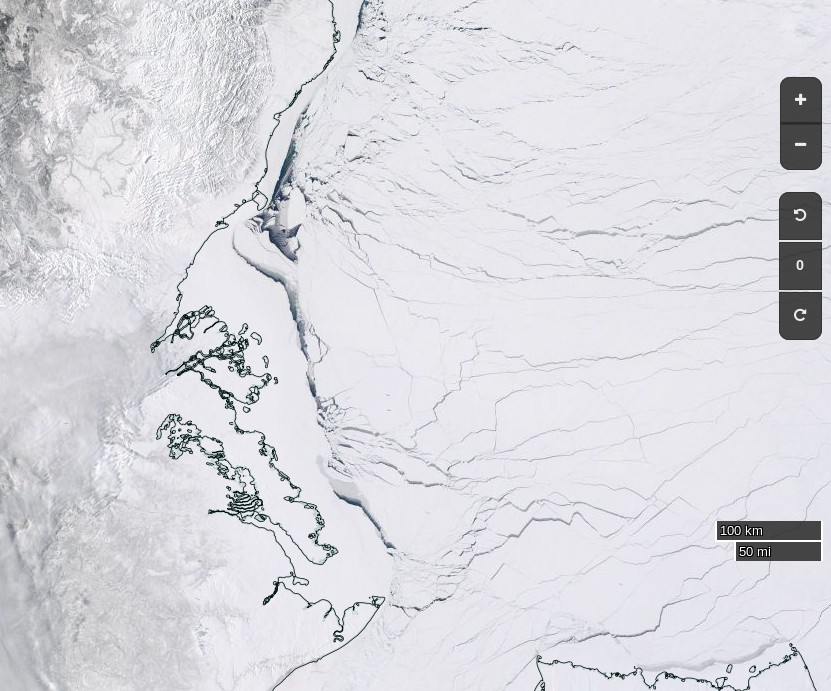 "NASA Worldview ""true-color"" image of the Beaufort Sea on April 5th 2017, derived from the MODIS sensor on the Terra satellite"