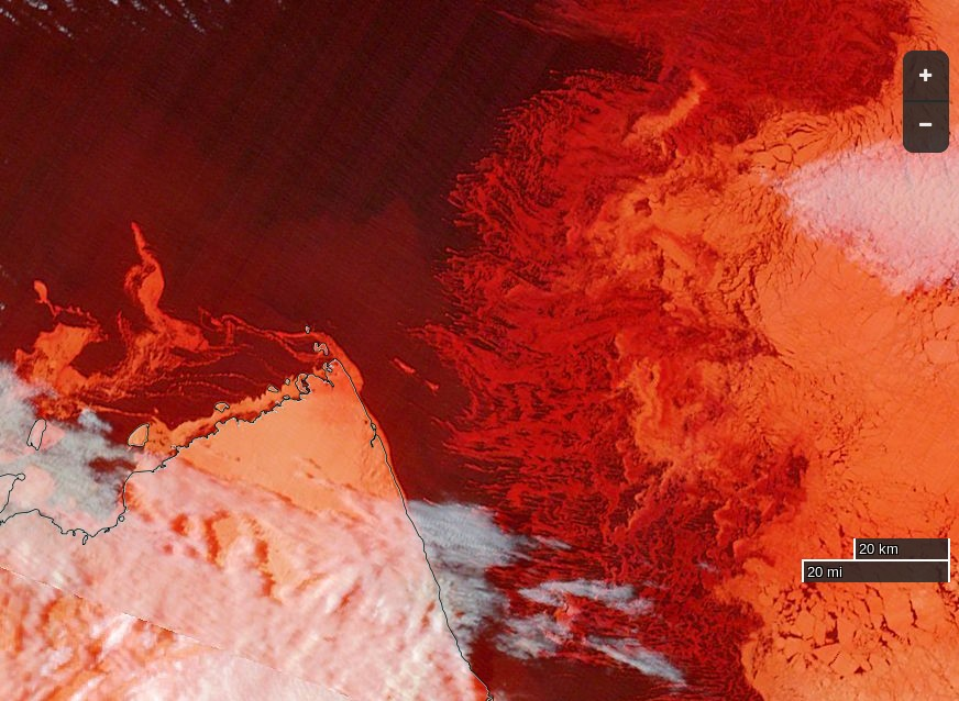"""NASA Worldview """"false-color"""" image of the McClure Strait on September 30th 2016, derived from the MODIS sensor on the Terra satellite"""