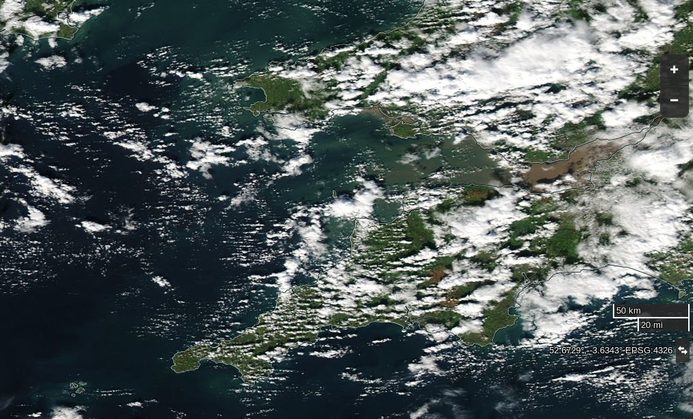 "NASA Worldview ""true-color"" image of the South West England on October 17th 2016, derived from the MODIS sensor on the Aqua satellite"