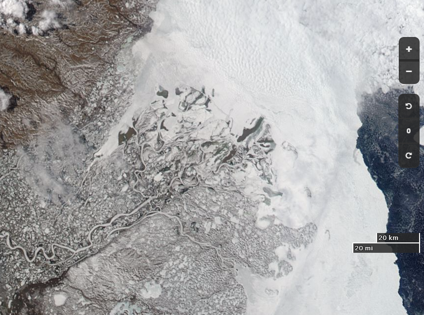 "NASA Worldview ""true-color"" image of the Beaufort Sea off the Mackenzie Delta on May 21st 2017, derived from the MODIS sensor on the Aqua satellite"