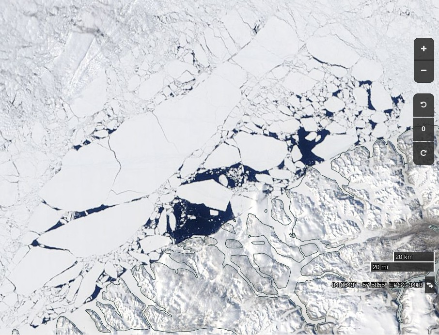 """NASA Worldview """"true-color"""" image of the sea ice north west of Greenland breaking up on June 2nd 2017"""