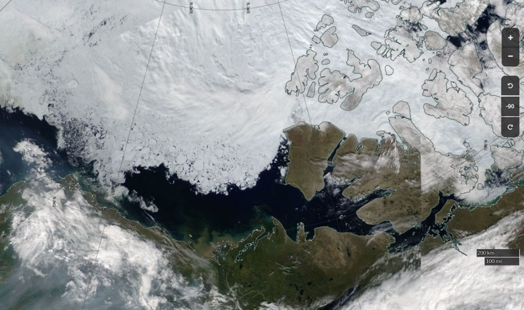 "NASA Worldview ""true-color"" image of the Beaufort Sea on July 12th 2017, derived from the MODIS sensor on the Terra satellite"