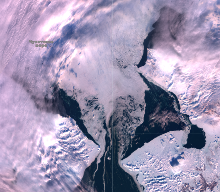 Sentinel 3's view of the Bering Strait on February 28th 2019