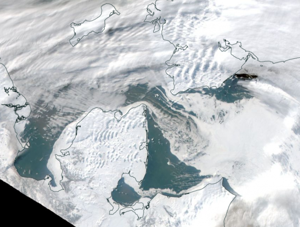 Terra's view of the Bering Strait on March 1st 2019