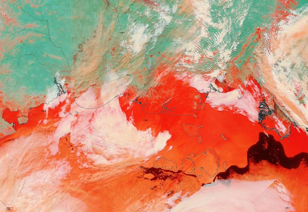 "NASA Worldview ""false-color"" image of the Eastern Arctic on May 25th 2012, derived from the MODIS sensor on the Terra satellite"