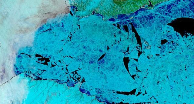 "NASA Worldview ""false-color"" image of the Vilkitsky Strait on June 22nd 2019, derived from the MODIS sensor on the Terra satellite"