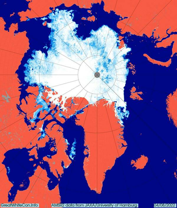 AMSR2 Arctic sea ice concentration from the University of Hamburg