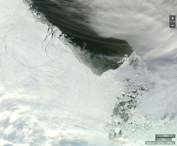 """The Arctic sea ice edge off """"Russia's northern shores"""" from the Aqua satellite"""