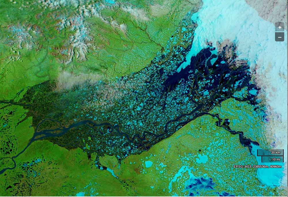 NASA Worldview image of the Mackenzie Delta on June 3rd 2014, derived from bands 7, 2 and 1 of the MODIS sensor on the Aqua satellite