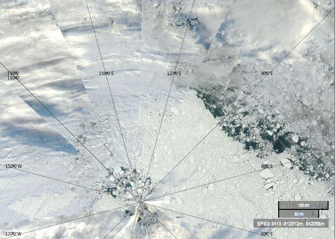 """NASA Worldview """"true-color"""" image of the North Pole area on September 4th 2013 derived from bands 1,4 and 3 of the MODIS sensor on the Terra satellite"""
