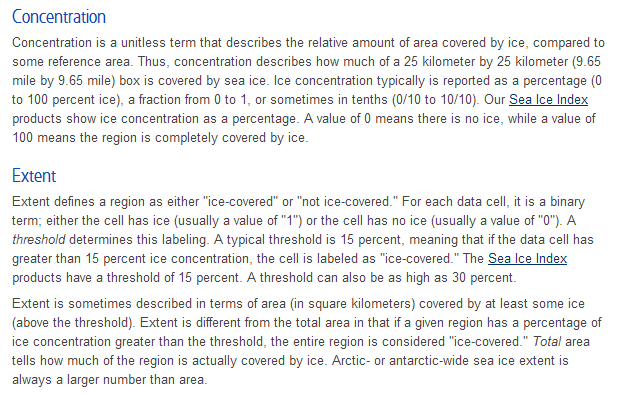 "NSIDC explanation of the terms ""concentration"" and ""extent"""