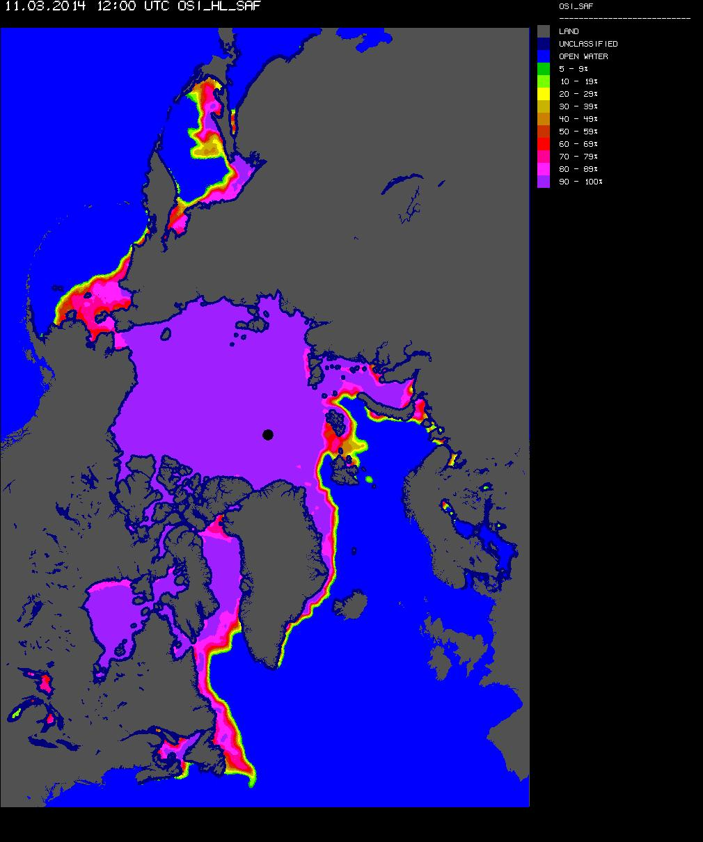 OSI Arctic sea ice concentration for March 11th 2014