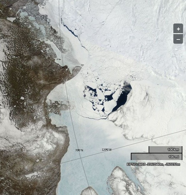 "NASA Worldview ""true-color"" image of the Beaufort Sea and Amundsen Gulf on June 8th 2013, derived from bands 1, 4 and 3 of the MODIS sensor on the Terra satellite"