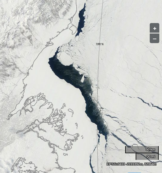 "NASA Worldview ""true-color"" image of the Beaufort Sea off the Mackenzie Delta on April 23rd 2014, derived from bands 1, 4 and 3 of the MODIS sensor on the Terra satellite"