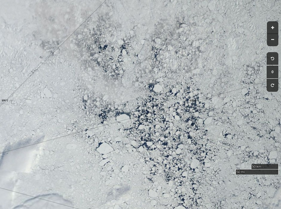 "NASA Worldview ""true-color"" image of the Arctic north of Franz Josef Land on July 29th 2013, derived from bands 1, 4 and 3 of the MODIS sensor on the Terra satellite"