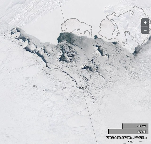 """NASA Worldview """"true-color"""" image of the East Siberian Sea on April 30th 2014, derived from bands 1, 4 and 3 of the MODIS sensor on the Aqua satellite"""