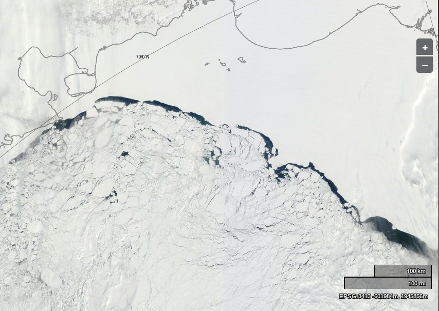 "NASA Worldview ""true-color"" image of the East Siberian Sea on May 15th 2014, derived from bands 1, 4 and 3 of the MODIS sensor on the Terra satellite"