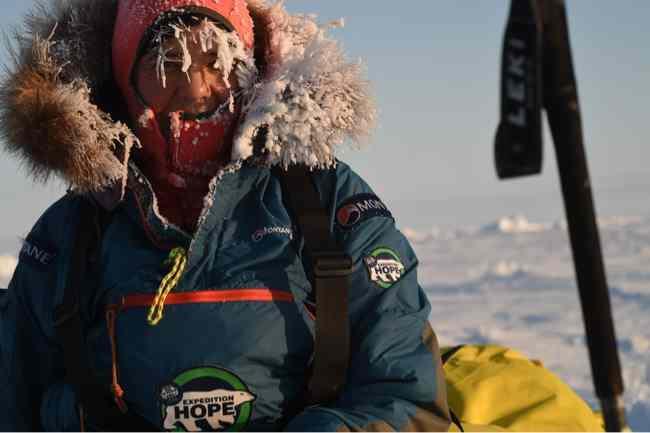 Bernice Nootenboom near the North Pole. Photo: Martin Hartley