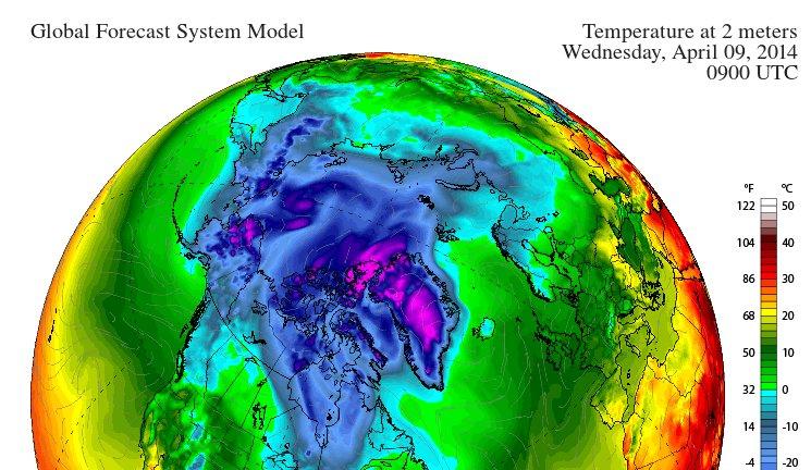 GFS 2m temperature forecast for 09:00 UTC on April 9th 2014