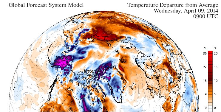 GFS 2m temperature anomaly forecast for 09:00 UTC on April 9th 2014