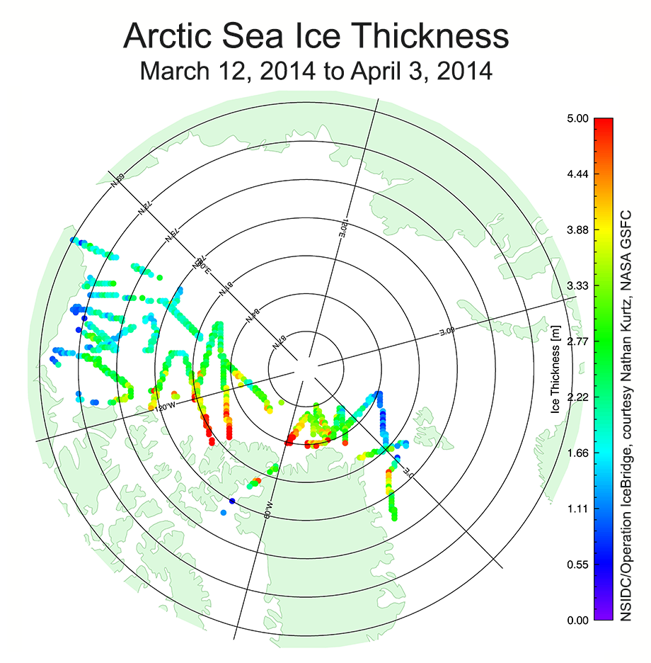 NASA Operation IceBridge Arctic sea ice thickness 2014