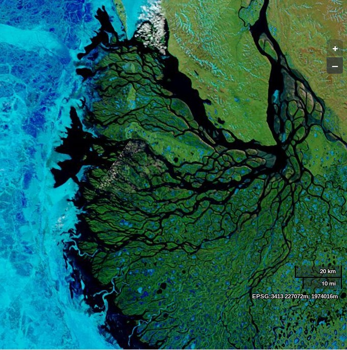 NASA Worldview image of the Lena Delta and Laptev Sea on June 14th 2013, derived from bands 7, 2 and 1 of the MODIS sensor on the Terra satellite