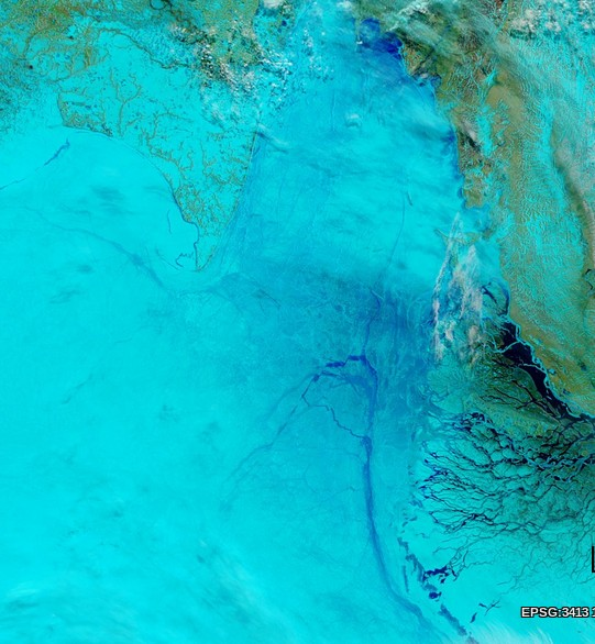 "NASA Worldview ""true-color"" image of the Laptev Sea on May 24th 2014, derived from bands 7, 2 and 1 of the MODIS sensor on the Terra satellite"