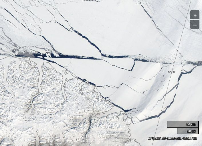 """NASA Worldview """"true-color"""" image of the Lincoln Sea on May 26th 2014, derived from bands 1, 4 and 3 of the MODIS sensor on the Aqua satellite"""