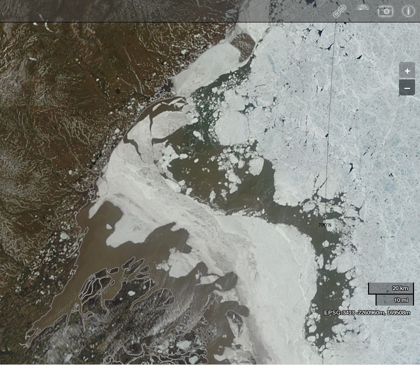 "NASA Worldview ""true-color"" image of the Mackenzie Delta and the Beaufort Sea on June 17th 2013, derived from bands 1, 4 and 3 of the MODIS sensor on the Terra satellite"