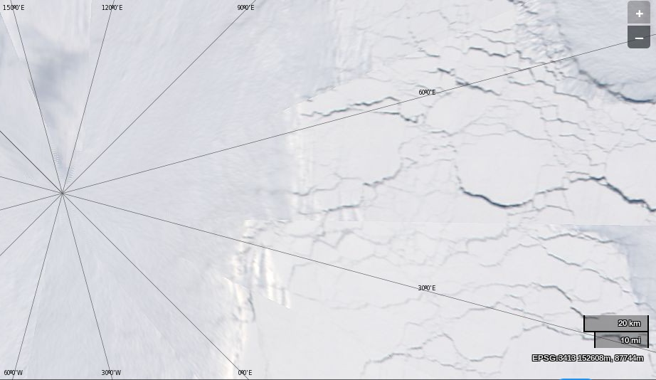 "NASA Worldview ""true-color"" image of the North Pole area on May 11th 2014, derived from bands 1, 4 and 3 of the MODIS sensor on the Aqua satellite"
