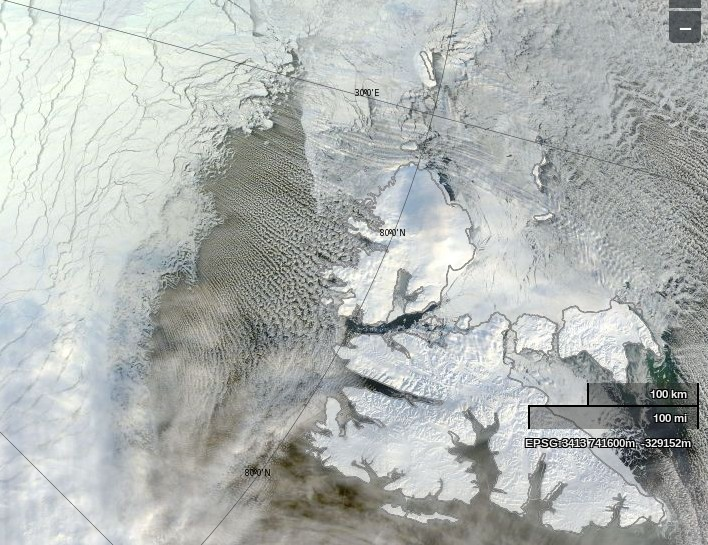"NASA Worldview ""true-color"" image of the area North of Svalbard on March 15th 2014, derived from bands 1, 4 and 3 of the MODIS sensor on the Terra satellite"