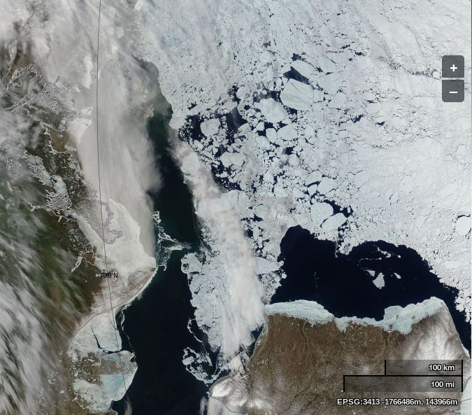 "NASA Worldview ""true-color"" image of the Beaufort Sea on June 21st 2014, derived from bands 1, 4 and 3 of the MODIS sensor on the Aqua satellite"