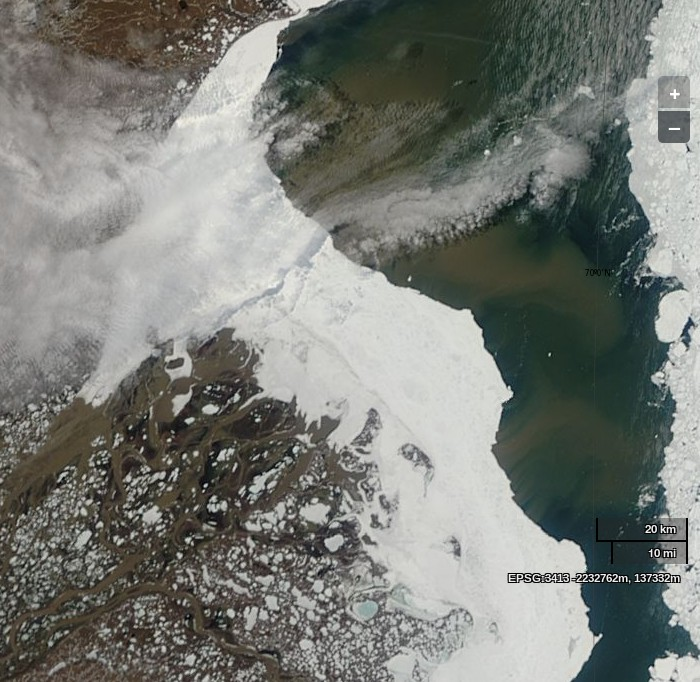 "NASA Worldview ""true-color"" image of the Mackenzie Delta and the Beaufort Sea on June 4th 2014, derived from bands 1, 4 and 3 of the MODIS sensor on the Terra satellite"