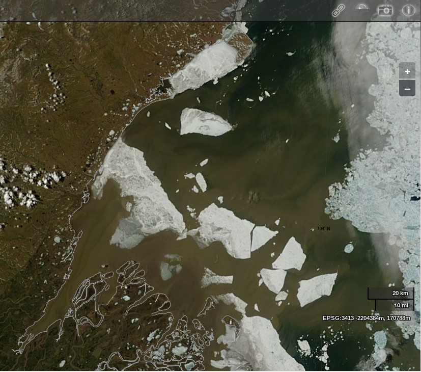 "NASA Worldview ""true-color"" image of the Mackenzie Delta and the Beaufort Sea on June 17th 2014, derived from bands 1, 4 and 3 of the MODIS sensor on the Terra satellite"