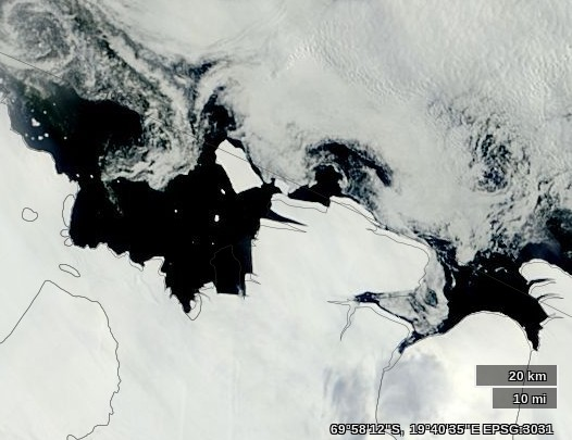 The recently calved King Baudouin Ice Shelf on February 3rd 2015