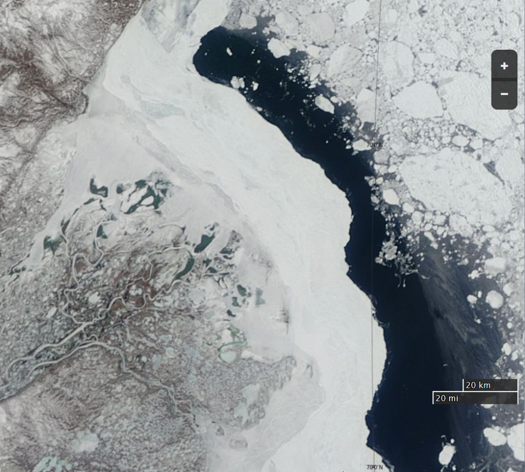 "NASA Worldview ""true-color"" image of the Mackenzie Delta on May 13th 2015, derived from bands 1, 4 and 3 of the MODIS sensor on the Terra satellite"