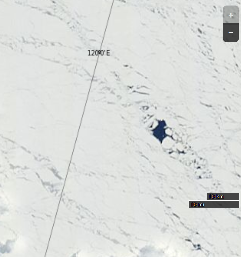 "NASA Worldview ""true-color"" image of the Central Arctic north of the Laptev Sea on May 23rd 2015, from the Terra satellite"