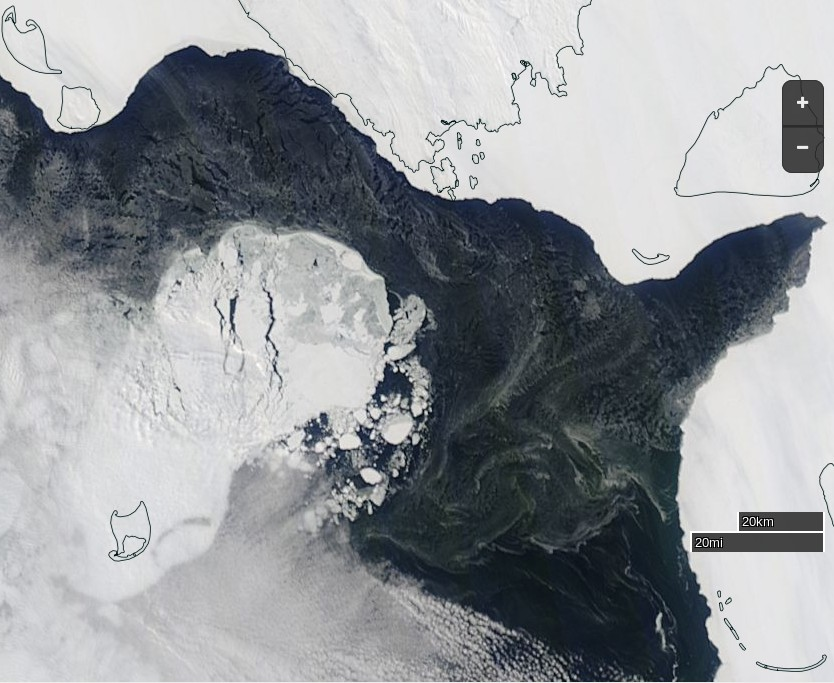 "NASA Worldview ""true-color"" image of the Kara Sea refreezing on April 15th 2015, derived from bands 1, 4 and 3 of the MODIS sensor on the Terra satellite"