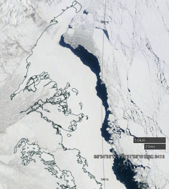 "NASA Worldview ""true-color"" image of the Beaufort Sea off the Mackenzie Delta on April 23rd 2015, derived from bands 1, 4 and 3 of the MODIS sensor on the Terra satellite"