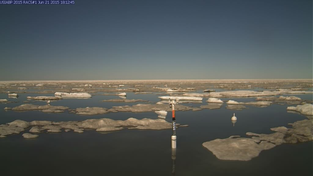 Ice Mass Balance Buoy 2015A webcam image on June 21st 2015, showing the buoy free floating