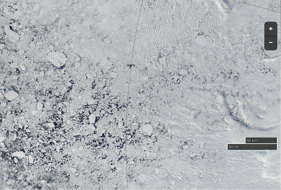 "NASA Worldview ""true-color"" image of the Central Arctic north of the Beaufort Sea on August 11th 2015, derived from the MODIS sensor on the Aqua satellite"