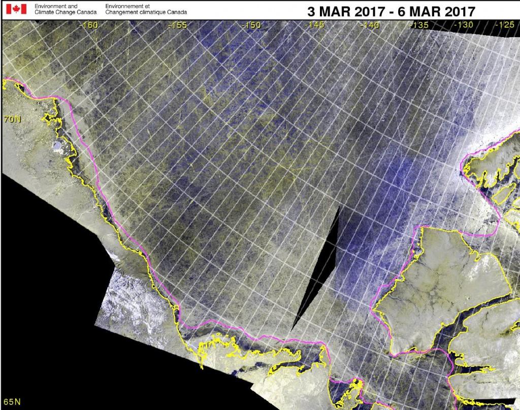 Canadian Ice Service RadarSat 2 mosaic on March 6th 2017
