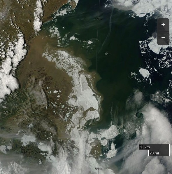 "NASA Worldview ""true-color"" image of the Beaufort Sea and the Mackenzie Delta on June 13th 2015, derived from bands 1, 4 and 3 of the MODIS sensor on the Terra satellite"