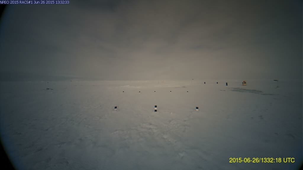 NPEO webcam 1 image from June 26th 2015, showing a melt pond