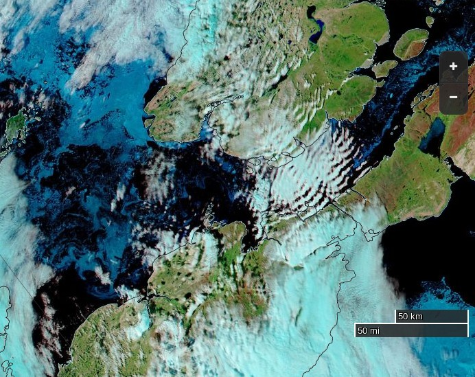 "NASA Worldview ""false-color"" image of the Northwest Passage on August 12th 2015, derived from bands 7, 2 and 1 of the MODIS sensor on the Aqua satellite"
