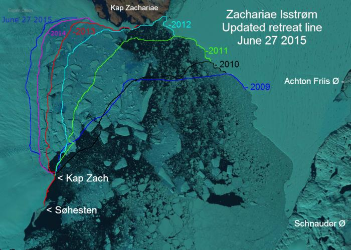 Retreat of the calving face of the Zachariae Isstrøm glacier between 2009 and 2015